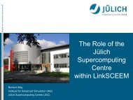 The Role of the Julich Supercomputing Centre within LinkSCEEM