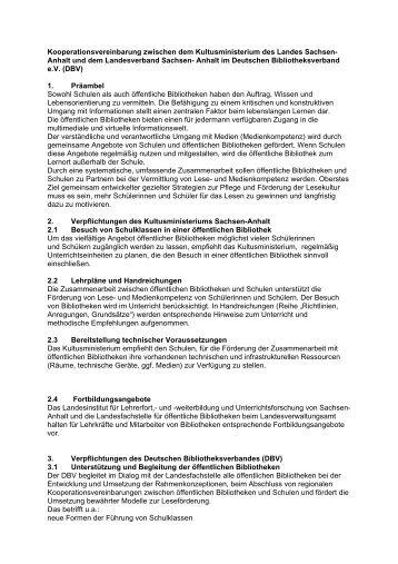 Kooperationsvereinbarung zwischen dem Kultusministerium des ...