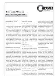 Brief an die Aktionäre Das Geschäftsjahr 2000 - Maschinenfabrik ...