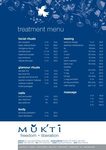 treatment menu - Mukti Botanicals