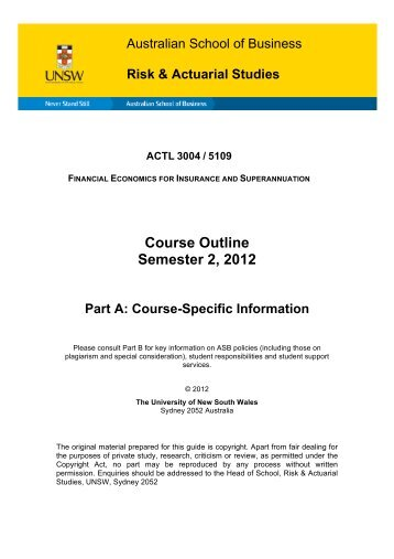 Course Outline Semester 2, 2012 - Australian School of Business