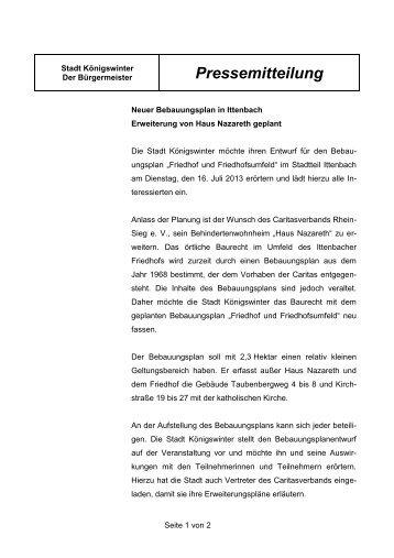Neuer Bebauungsplan in Ittenbach Erweiterung von Haus Nazareth ...