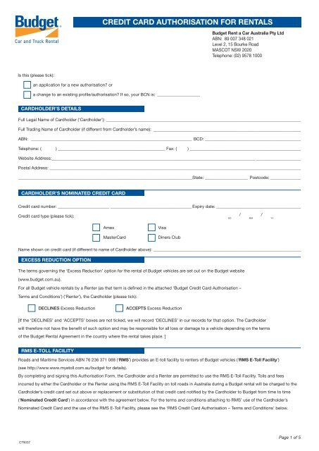 Credit Card Authorisation Form - Budget Rent a Car on credit card consent form template, credit card authorization form template, credit card approval form template,