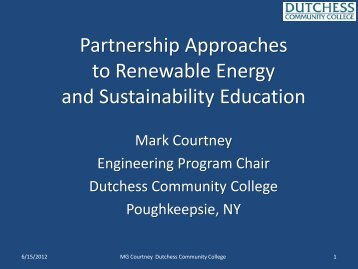 Partnership Approaches to Renewable Energy and Sustainability ...