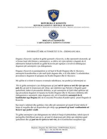 Informatë mbi automjetet e pa-zhdoganuara - Dogana e Kosovës