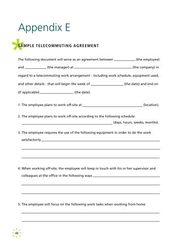 Sample Telecommuting Agreement Psychological Injury - Telecommuting agreement template