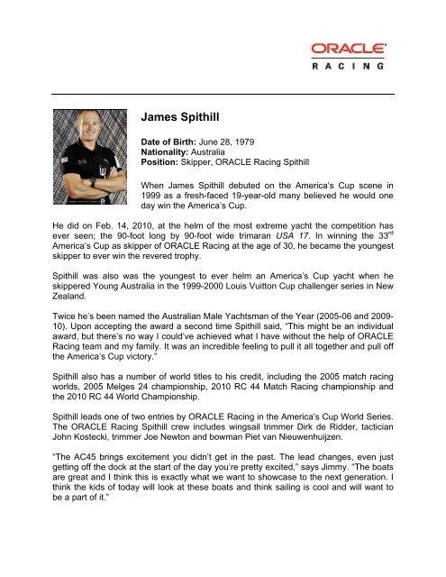 James Spithill Sailing Resume - San Diego Yacht Club