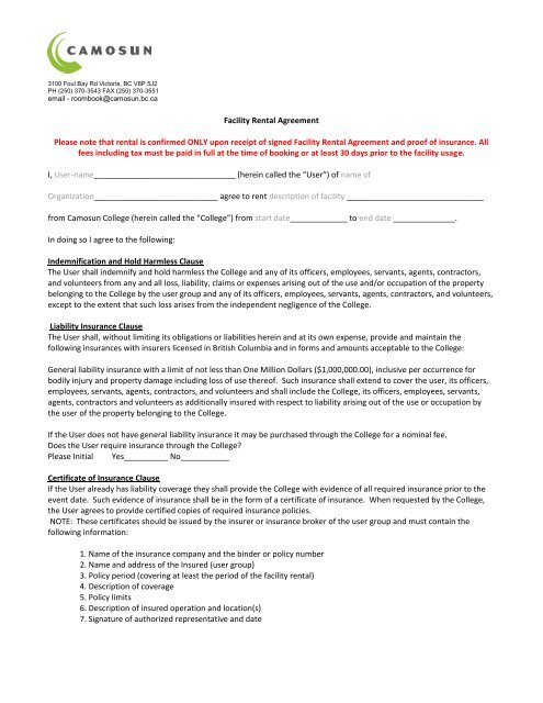 Facility Rental Agreement Terms And Conditions Camosun College