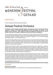 Gstaad Festival Orchestra - Menuhin Festival Gstaad