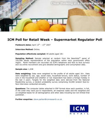 Retail Week Supermarket Regulator Poll for Retail ... - ICM Research