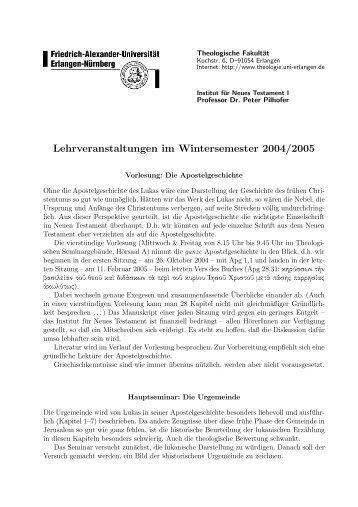Lehrveranstaltungen im Wintersemester 2004/2005 - Philippoi.de