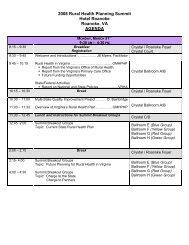 Agenda - Virginia's State Rural Health Plan