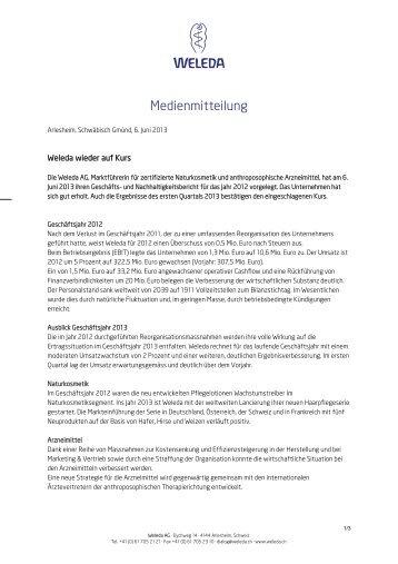 6.6.2013 Media Release: Weleda wieder auf Kurs