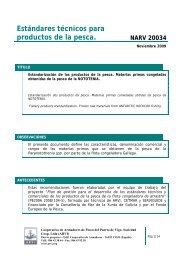 Estándares técnicos para productos de la pesca. NARV 20034 - Arvi