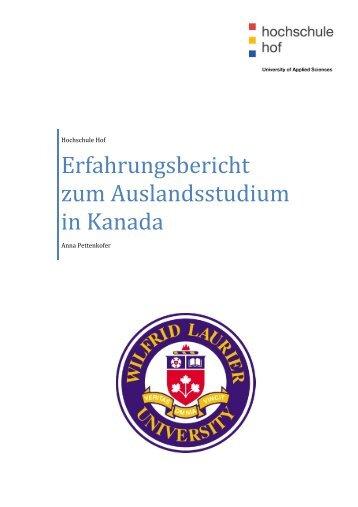 Erfahrungsbericht zum Auslandsstudium in Kanada - Hochschule Hof