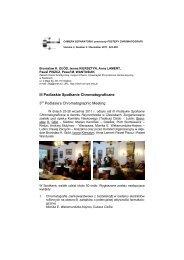 3 nd Podlasie's Chromatographic Meeting - Zakład Chemii ...