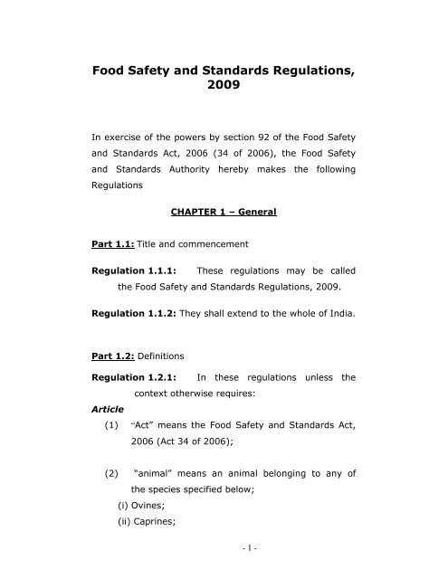 FSSAI regulations pdf - Food Safety and Standards Authority