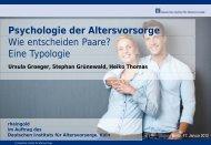 Psychologie der Altersvorsorge Wie entscheiden Paare? Eine ... - DIA