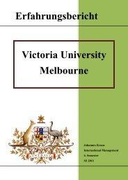Erfahrgsbericht Victoria University Melbourne ... - Hochschule Hof