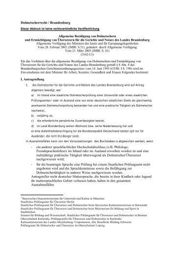 Dolmetscherrecht / Brandenburg - ein anderer sprachfachlicher ...