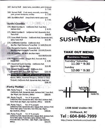Sushi Nabi Menu - MainMenus.com