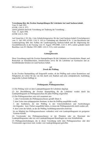 Verordnung über die Zweiten Staatsprüfungen