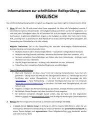 Informationen zur schriftlichen Reifeprüfung aus ENGLISCH