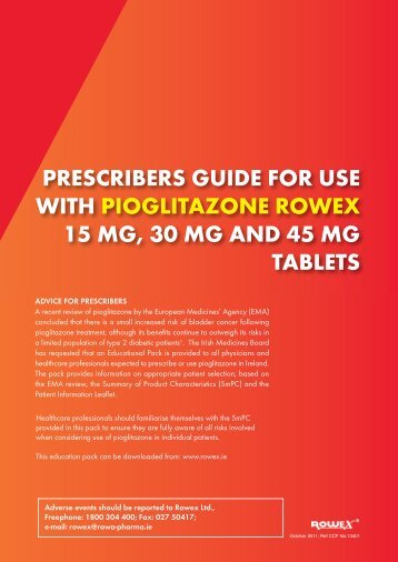PRESCRIBERS GUIDE FOR USE WITH ... - Rowex Ltd