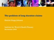 The problem of long duration claims - Institute for Work & Health