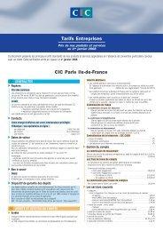Tarifs Entreprises CIC Paris Ile-de-France
