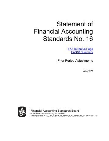 Statement of Financial Accounting Standards No. 16 - Paper Audit ...