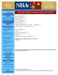 2013 SBA Family Owned Small Business of the Year Nomination Form