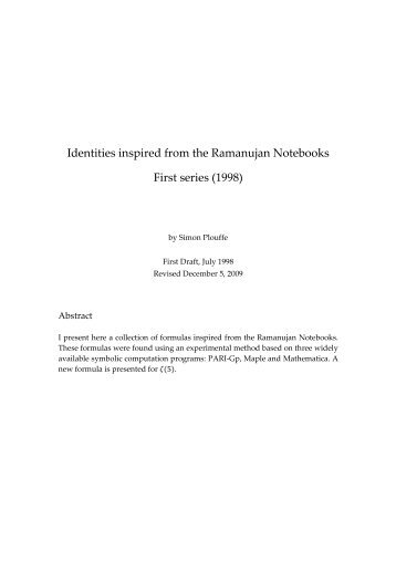 Identities inspired from the Ramanujan Notebooks - UQAM