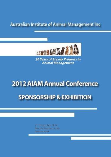 AIAM Sponsorship & Exhibit 2012.pdf - Australian Institute of Animal ...