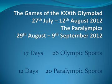 The Games of the XXXth Olympiad - Hampshire County Council