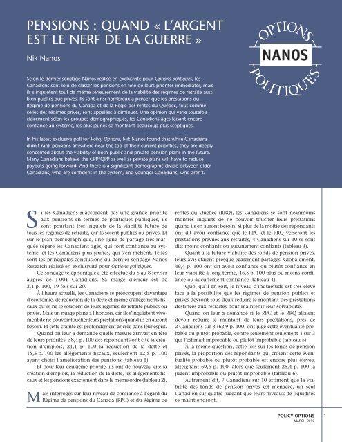 pensions : quand Â« l'argent est le nerf de la guerre - Nanos Research