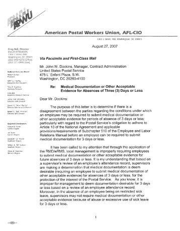 Approved Fmla Leave Inappropriate Subject For A Apwu
