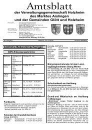 Aus unserer Wurstabteilung - Verwaltungsgemeinschaft Holzheim