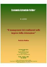 Il management dei rendimenti nelle imprese della ristorazione - Riviste