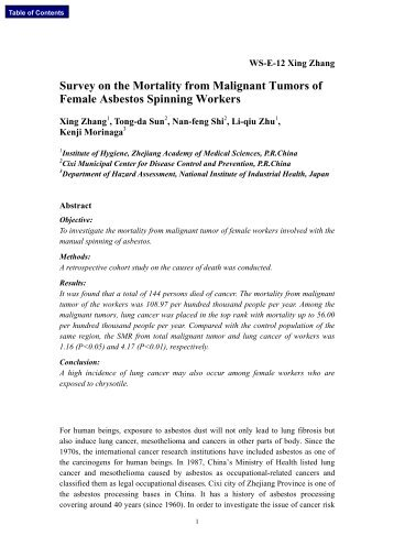 Survey on the Mortality from Malignant Tumors of Female Asbestos ...