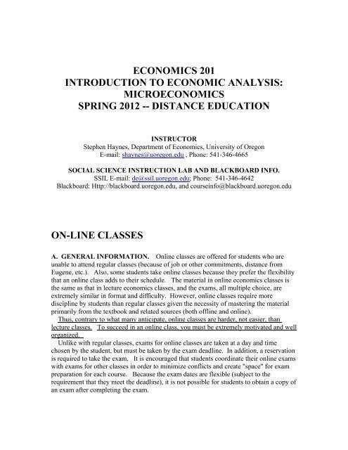 Course Syllabus - Distance Education - University of Oregon