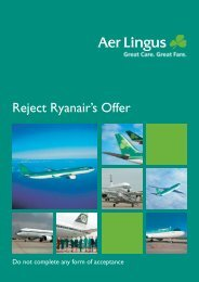 Reject Ryanair's Offer - Corporate Aer Lingus