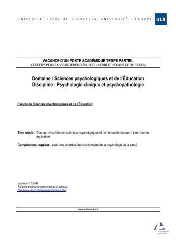 10-041 PSYCHO psychologie santém - Université Libre de Bruxelles