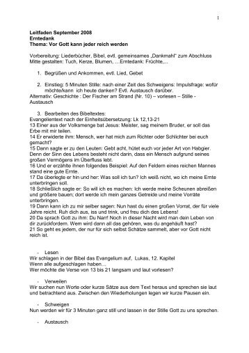 1 Leitfaden September 2008 Erntedank Thema: Vor Gott kann jeder ...