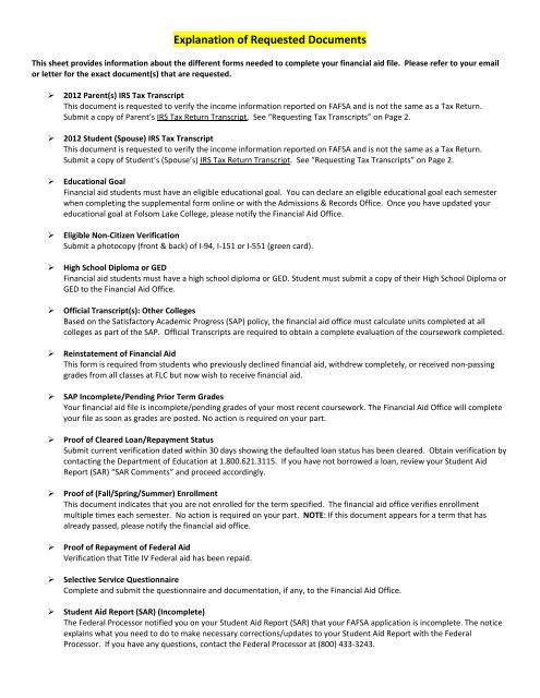 Explanation of Requested Documents - Folsom Lake College