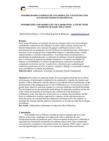 possibilidades e formas de colaboração: um estudo ... - cinted/ufrgs