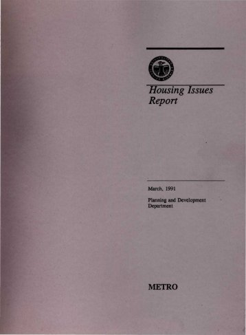 Housing Issues Report - Planning Oregon - Portland State University