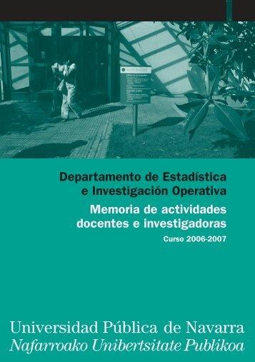 Memoria del curso 2006-2007 - Universidad Pública de Navarra