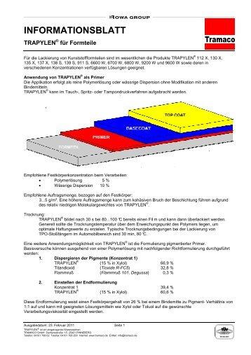 Informationsblatt TRAPYLEN® für Formteile - tramaco.de