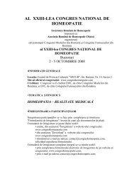 AL XXIII-LEA CONGRES NATIONAL DE HOMEOPATIE - Societatea ...